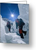 Hikers And Hiking Photo Greeting Cards - Climbers Ascend The Khumbu Ice Fall Greeting Card by Bobby Model