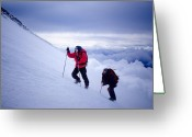 Alpine Skiing Prints Greeting Cards - Climbing Greeting Card by Iurii Zaika