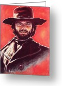 Red Pastels Greeting Cards - Clint Eastwood Greeting Card by Anastasis  Anastasi