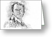 Canvas Drawings Greeting Cards - Clint Eastwood as Callahan Greeting Card by David Lloyd Glover