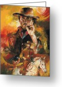Cowboy Sketches Greeting Cards - Clint Eastwood Greeting Card by Christiaan Bekker