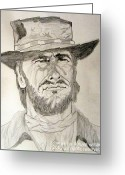 Drifter Greeting Cards - Clint Eastwood Portrait Sketch Greeting Card by Donald William