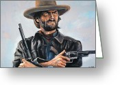 Outlaw Greeting Cards - Clint Eastwood  Greeting Card by Tom Carlton