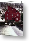 Red Building Greeting Cards - Clinton Mill Greeting Card by Skip Willits