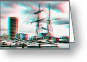 City Illusion Greeting Cards - Clipper City - Use Red-Cyan 3D glasses Greeting Card by Brian Wallace