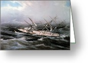 1855 Greeting Cards - Clipper Ship Comet, 1855 Greeting Card by Granger