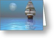 Sailboat Picture Greeting Cards - Clipper Ship Greeting Card by Corey Ford