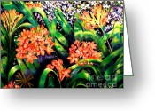 Carolinestreet Greeting Cards - Clivias in Bloom Greeting Card by Caroline Street