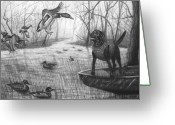 Duck Drawings Greeting Cards - Cloaked Greeting Card by Peter Piatt