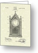 Clock Drawings Greeting Cards - Clock Case Design 1902 Patent Art Greeting Card by Prior Art Design