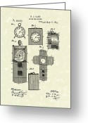 Clock Drawings Greeting Cards - Clock Cover 1887 Patent Art Greeting Card by Prior Art Design