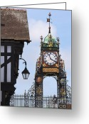 Large Clock Greeting Cards - Clock in Chester Greeting Card by Andrew  Michael