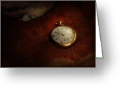 Featured Greeting Cards - Clock - Time waits for nothing  Greeting Card by Mike Savad