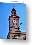 Weather Vane Greeting Cards - Clock Tower in Albury Australia Greeting Card by Kaye Menner