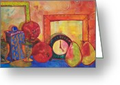 Warm Painting Greeting Cards - Clock Work Greeting Card by Blenda Tyvoll