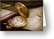 Pawn Greeting Cards - Clockmaker - Time never waits  Greeting Card by Mike Savad