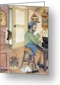 Oldfashioned Greeting Cards - Clockmaker 1 Greeting Card by Annemeet Van der Leij