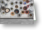 Clock Greeting Cards - Clocks On The Wall Greeting Card by Setsiri Silapasuwanchai