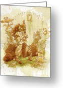 Featured Greeting Cards - Clockwork Greeting Card by Brian Kesinger