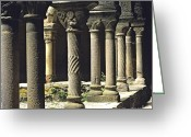 Art Of Building Greeting Cards - Cloister of Lavaudieu. Haute Loire. Auvergne Greeting Card by Bernard Jaubert