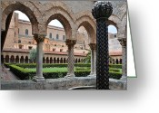 Caputo Greeting Cards - Cloister of the abbey of Monreale. Greeting Card by RicardMN Photography