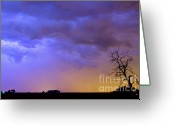 Lightning Weather Stock Images Greeting Cards - Clolorful C2C Lightning Country Landscape Greeting Card by James Bo Insogna