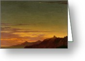 Sunset Scenes. Painting Greeting Cards - Close of the Day - Sunset on the Coast Greeting Card by Alexander Cozens