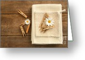Household Greeting Cards - Close-pins and dish towels on old table  Greeting Card by Sandra Cunningham