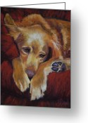 Dogs Pastels Greeting Cards - Close to Dreamland Greeting Card by Billie Colson