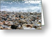 Wave Greeting Cards - Close Up From A Beach Greeting Card by Romeo Reidl