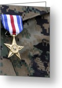 Laurel Wreath Greeting Cards - Close-up Of A Medal On The Uniform Greeting Card by Stocktrek Images