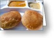 Food Greeting Cards - Close up of a plate of Indian food delicacy Kachori with Sabzi and Chutney Greeting Card by Ashish Agarwal