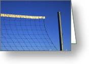 Leisure Activity Greeting Cards - Close-up of a volleyball net abandoned. Greeting Card by Bernard Jaubert