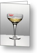 To Kiss Greeting Cards - Close Up Of Champagne In Glass With Lipstick Stain Greeting Card by Andy Roberts