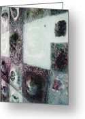 Mixed-media Glass Art Greeting Cards - close up of Country Hills panel 5 Greeting Card by Sarah King