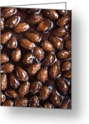 Nut Chocolate Greeting Cards - Close Up Of Glazed Almonds Greeting Card by Cultura/Line Klein