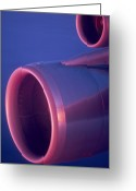 Pink Dawn Greeting Cards - Close-up Of Jet Engine, In Mid Air Greeting Card by Keenpress