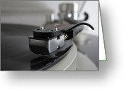Player Photo Greeting Cards - Close Up Of Record Player Greeting Card by Hiroshi Uzu