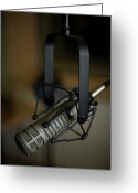 Side View  Greeting Cards - Close-up Of Recording Studio Microphone Greeting Card by Christopher Kontoes