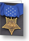 Award Photo Greeting Cards - Close-up Of The Medal Of Honor Award Greeting Card by Stocktrek Images