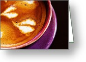 Barista Greeting Cards - Close-up shot of barista coffee cup. Greeting Card by Chaloemphan Prasomphet