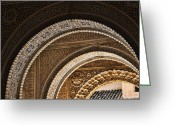 Archway Greeting Cards - Close-up view of Moorish arches in the Alhambra palace in Granad Greeting Card by David Smith