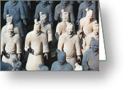 Shi Greeting Cards - Close Up View of Terracotta Warriors Greeting Card by George Oze