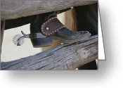 Wood Fences Greeting Cards - Close View Of A Cowboy Boot, Complete Greeting Card by Stacy Gold
