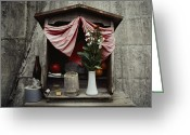 Tangerines Greeting Cards - Close View Of A Shrine With Oferings Greeting Card by Sam Abell