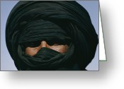 Headgear Greeting Cards - Close View Of A Turbaned Tuareg Man Greeting Card by Thomas J. Abercrombie