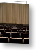 Curtain Greeting Cards - Closed Curtain In An Empty Theater Greeting Card by Adam Burn