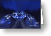 Illuminated Glass Greeting Cards - Closeup blue diamond in blue light. Greeting Card by Atiketta Sangasaeng
