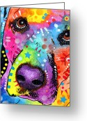 Dog Print Greeting Cards - CloseUp Labrador Greeting Card by Dean Russo