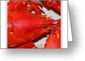 Sharp Claws Greeting Cards - Closeup Lobster Greeting Card by Barbara Griffin